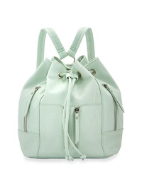 Neiman Marcus Faux Leather Drawstring Backpack Mint