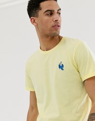 Solid Shark Embroidery T Shirt In Yellow