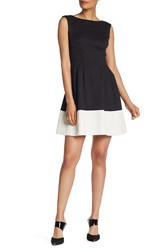 Vince Camuto Two Tone Fit And Flare Scuba Dress Black Whit