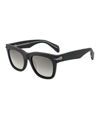 Rag And Bone Polarized Round Acetate Sunglasses W Metal Trim Black Pattern