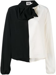 Fausto Puglisi Contrast Pussy Bow Blouse Women Silk 42 Black
