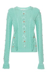 Manoush Twisted Flower Knit Sweater Green