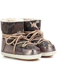 Inuikii Camouflage Low Fur Lined Suede Boots Multicoloured