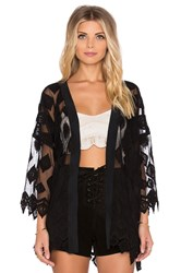 Gypsy 05 Embroidered Diamond Kimono Black