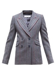 Gabriela Hearst Angela Double Breasted Striped Herringbone Blazer Grey Multi