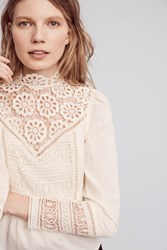 Anthropologie Victorian Lace Blouse Ivory