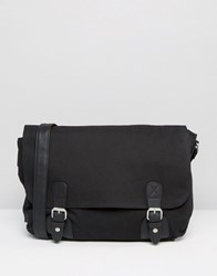 Asos Satchel In Black Canvas Black