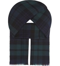Johnstons Heritage Check Merino Wool Scarf Black Watch