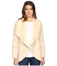 Lucky Brand Faux Shearling Waterfall Jacket Natural Women's Coat Beige