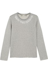 Comme Des Garcons Jupe By Jackie Faux Pearl Embellished Cotton Terry Sweatshirt Gray