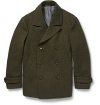 Officine Generale Double Breasted Slubbed Wool Peacoat Green
