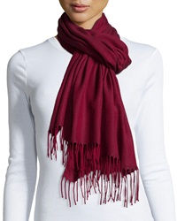 Italca Herringbone Fringe Scarf Ruby Red
