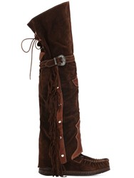 El Vaquero 70Mm Coleen Suede Over The Knee Boots Brown