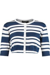 Dolce And Gabbana Cropped Striped Cashmere Silk Blend Cardigan Navy