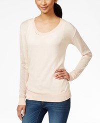 Calvin Klein Jeans Crew Neck Mesh Sweater Brushed Cream