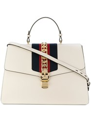 Gucci Sylvie Web Tote Leather Suede White