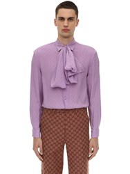 Gucci Gg Silk Crepe Shirt W Scarf Purple