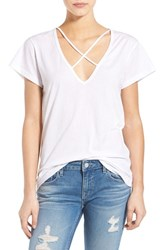 Women's Lna V Neck Strap Detail Cotton Tee