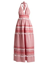 Dodo Bar Or David Halterneck Cotton Maxi Dress Red White