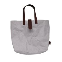 3 Wind Knots Paper Look Tote Bag With Clasp Gray Brown Clasp
