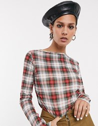 Cheap Monday Explicit Long Sleeved Check Top Red