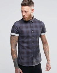 Asos Skinny Denim Shirt With Check In Grey And Long Sleeve Grey