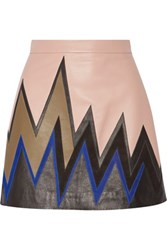 Emilio Pucci Suede Paneled Leather Mini Skirt Beige