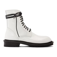 Ann Demeulemeester Ssense Exclusive White Leather Lace Up Boots
