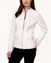 Charter Club Solid Front Zip Blazer Only At Macy's Bright White