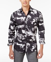 Inc International Concepts Men's Abstract Floral Cotton Shirt Only At Macy's Dark Navy