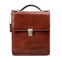 Maxwell Scott Bags Luxury Italian Leather Men's Medium Shoulder Bag Santino Chestnut Tan Brown