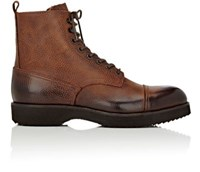 Barneys New York Men's Burnished Leather Lace Up Boots Brown