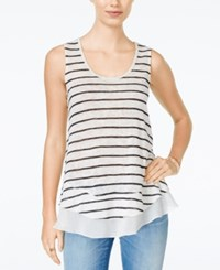 American Rag Chiffon Hem Striped Tank Top Only At Macy's Black Stripe
