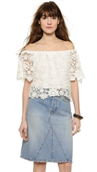 Nightcap Clothing Caribbean Crochet Crop Blouse White
