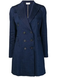 Kiltie Double Breasted Coat Blue