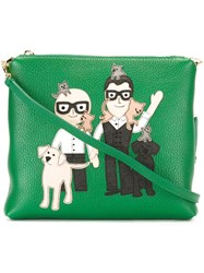 Dolce And Gabbana Designer Patch Clutch Green