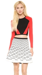 Ohne Titel Stripe Crop Top Black Red