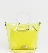 Aldo Miroang Neon Yellow Clear Tote Bag With Removable Pouch Yellow