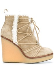 Moncler High Wedge Ankle Boots Nude And Neutrals