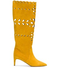 Red Valentino Redvalentino Floral Laser Cut Boots Yellow