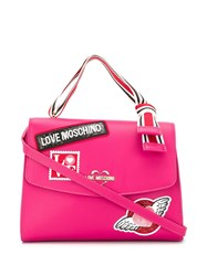 Love Moschino Embellished Logo Patch Tote Pink