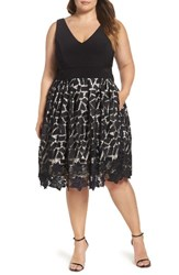 Xscape Evenings Plus Size Women's Lace And Jersey Dress Black Taupe