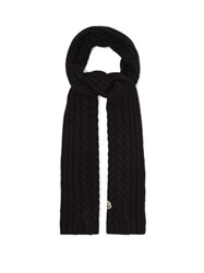 Moncler Cable Knit Wool Scarf Black