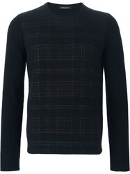 Roberto Collina Checked Panel Sweater Black