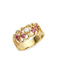 Estate Jewelry Collection White Diamond Ruby And 14K Yellow Gold Heart Band Ring