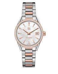 Tag Heuer Carrera 0.621 Diamonds Steel And 18K Rose Gold Bracelet Watch War1353bd0779 Two Tone