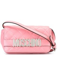 Moschino Logo Quilted Crossbody Bag Pink And Purple
