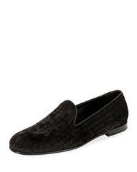 Giorgio Armani Woven Velvet Formal Loafer Black