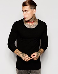 Asos Extreme Muscle Long Sleeve T Shirt With Scoop Neck Black
