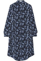 Equipment Pascal Leopard Print Silk Dress Blue